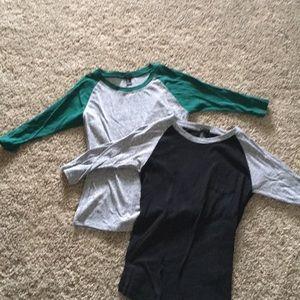 Two women's 3/4 sleeve baseball style shirt size M